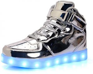 Zapatillas plateadas LED Luminosas con luces led para niños